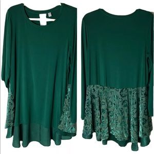 LOGO Lori Goldstein Tunic Top Size Large w/Burnout Velvet & Satin Floral Green